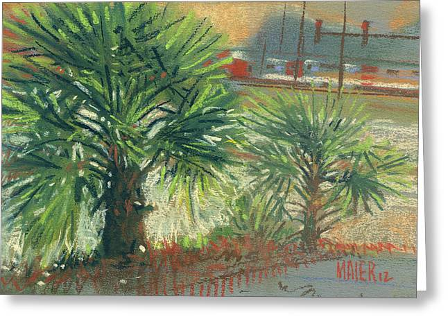 Pastel Landscape Greeting Cards - Urban Palms Greeting Card by Donald Maier