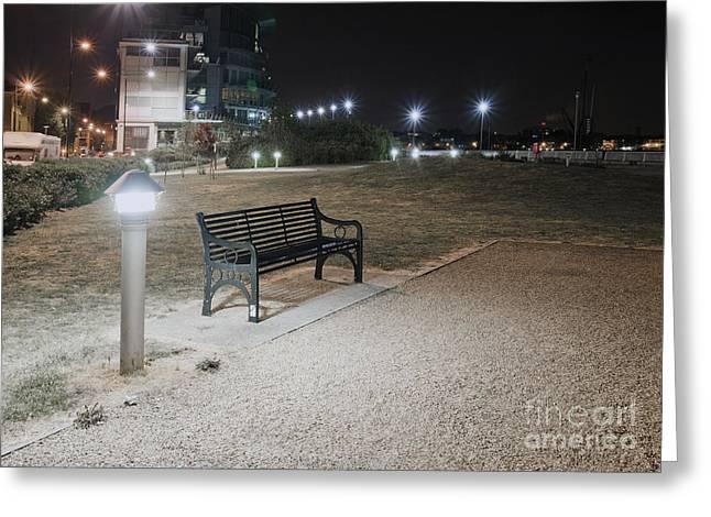 Park Benches Greeting Cards - Urban Park Bench at Night Greeting Card by John Harper