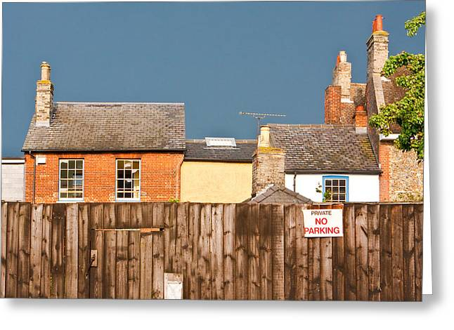 Red-roofed Buildings Greeting Cards - Urban scene Greeting Card by Tom Gowanlock