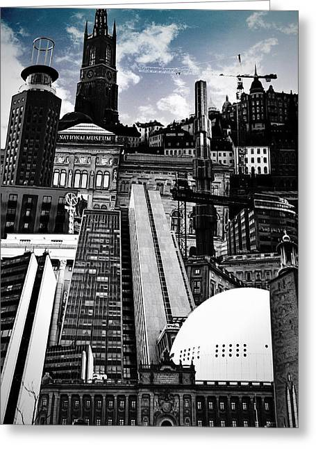 City Buildings Digital Art Greeting Cards - Urban Stockholm Greeting Card by Nicklas Gustafsson
