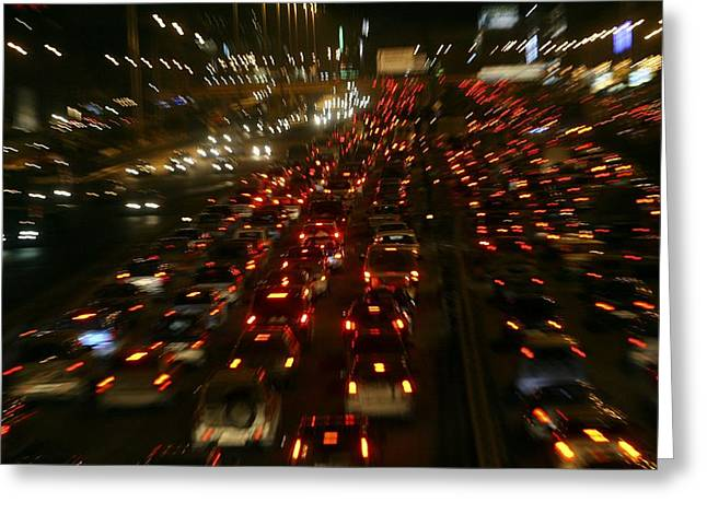 21st Greeting Cards - Urban Traffic Jams At Night Greeting Card by Ria Novosti