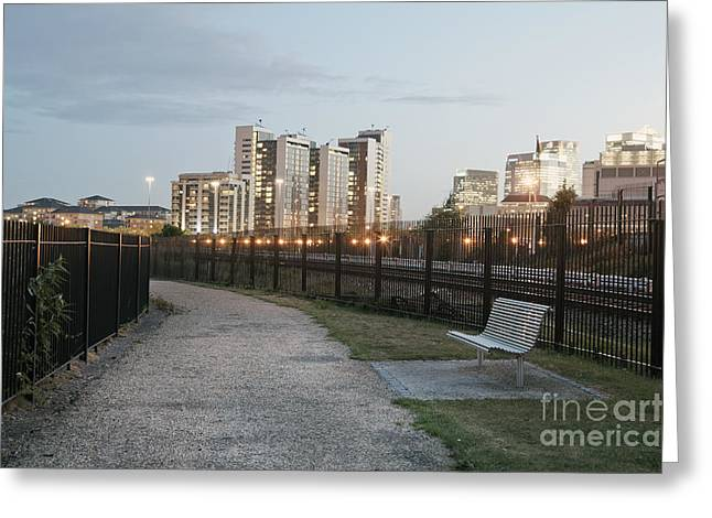 Park Benches Greeting Cards - Urban Walking Path and Bench Greeting Card by John Harper
