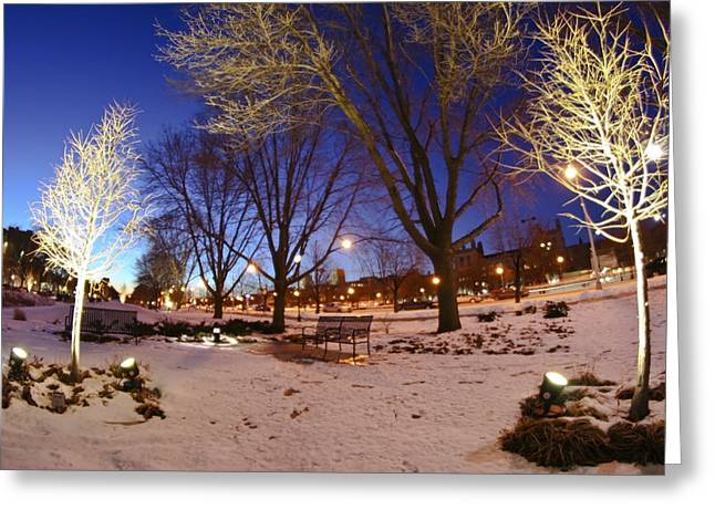 Urban Winter Scenes Greeting Cards - Urban winter twilight Greeting Card by Sven Brogren