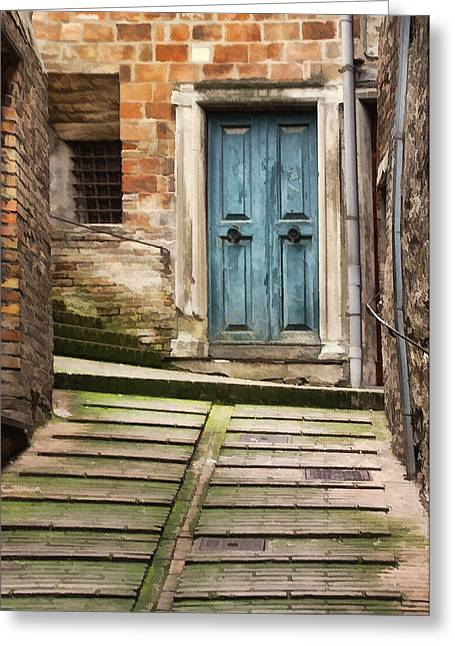 Urbino Door And Stairs Greeting Card by Sharon Foster