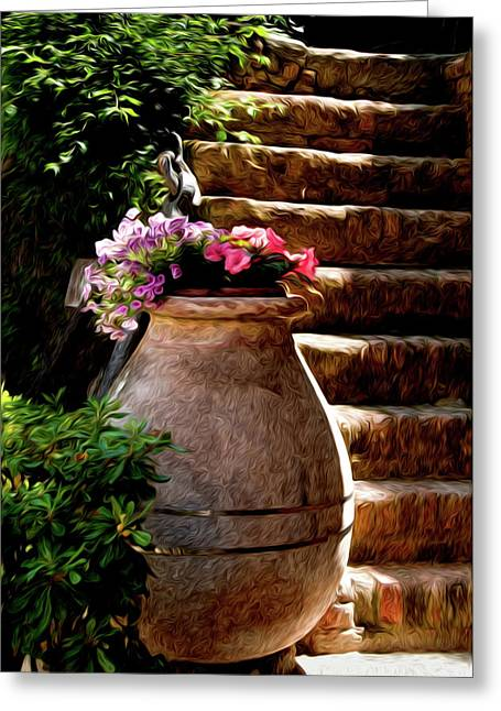 Portofino Italy Art Greeting Cards - Urn And Flowers Portofino Italy Greeting Card by Xavier Cardell