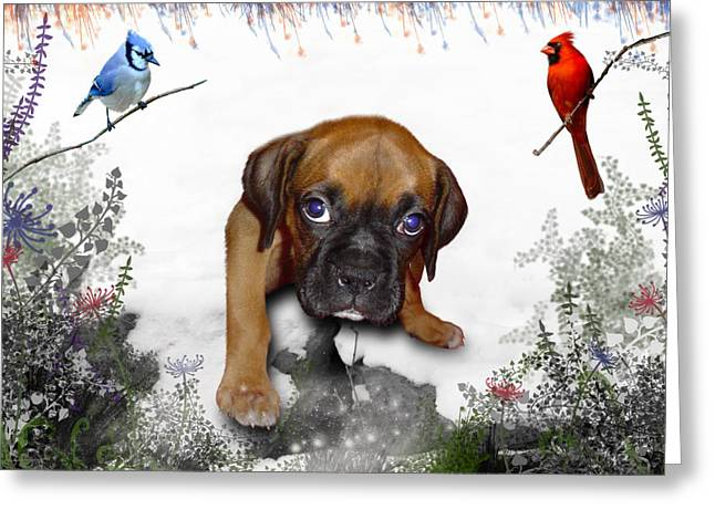 Puppies Digital Art Greeting Cards - Ursula Uma and the Underdog Greeting Card by Julie L Hoddinott