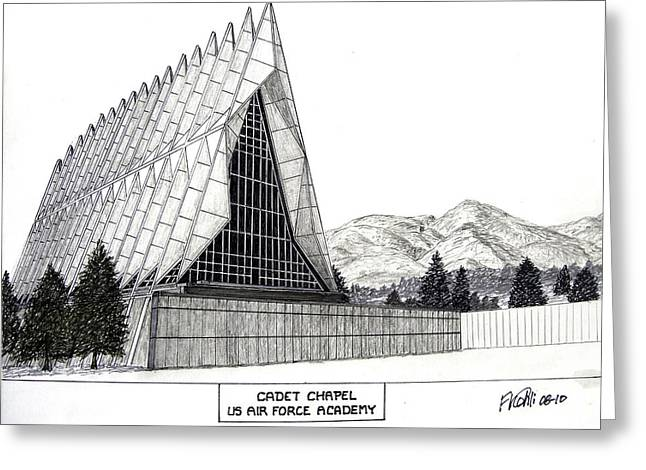 Chapel Mixed Media Greeting Cards - US Air Force Academy Greeting Card by Frederic Kohli