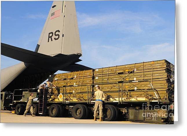 Military Base Greeting Cards - U.s. Air Force Airmen Load Cargo Onto Greeting Card by Stocktrek Images