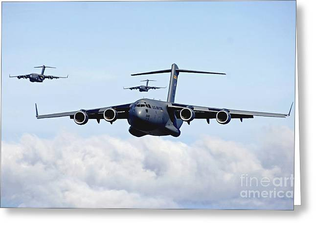 Cargo Aircraft Greeting Cards - U.s. Air Force C-17 Globemasters Greeting Card by Stocktrek Images
