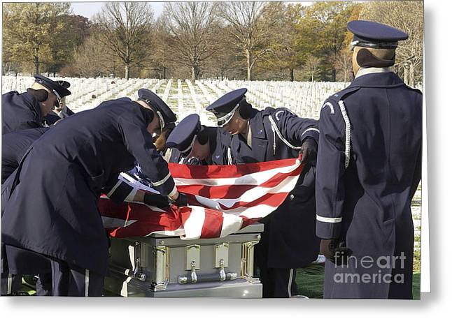 Remains Of Images Greeting Cards - U.s. Air Force Honor Guard Pallbearers Greeting Card by Stocktrek Images
