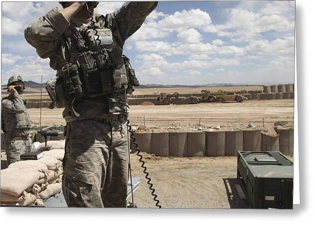 U.s. Air Force Member Calls For Air Greeting Card by Stocktrek Images