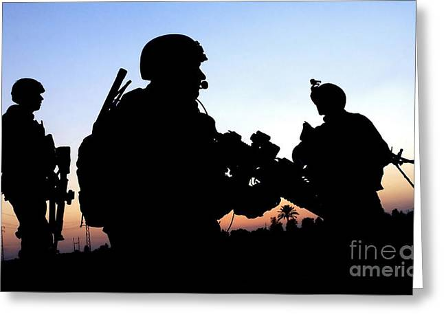 Foot Patrol Greeting Cards - U.s. Air Force Members Conduct A Patrol Greeting Card by Stocktrek Images