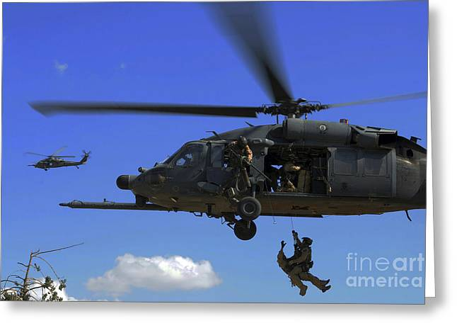 Recently Sold -  - Baghdad Greeting Cards - U.s. Air Force Pararescuemen Greeting Card by Stocktrek Images