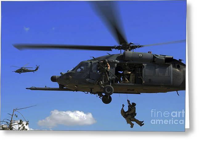 Baghdad Greeting Cards - U.s. Air Force Pararescuemen Greeting Card by Stocktrek Images