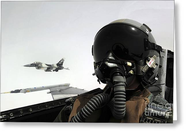 Self-portrait Greeting Cards - U.s. Air Force Pilot Takes Greeting Card by Stocktrek Images