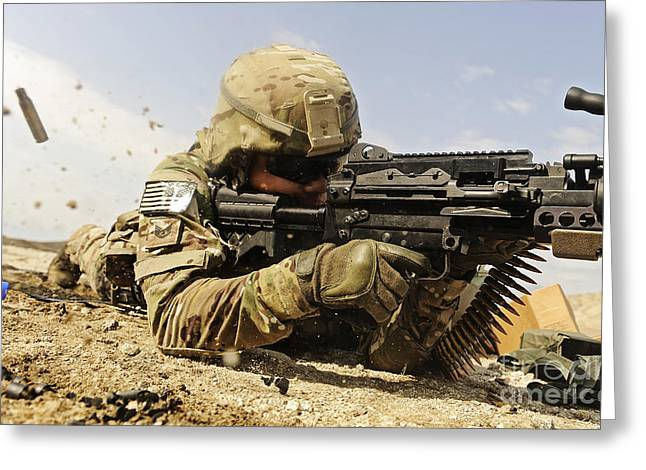 U.s. Air Force Soldier Fires The Mk48 Greeting Card by Stocktrek Images