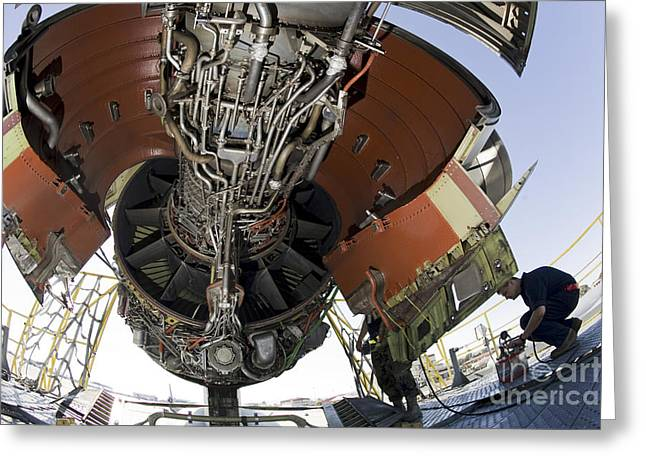 Us Open Photographs Greeting Cards - U.s. Air Force Technician Hydraulically Greeting Card by Stocktrek Images