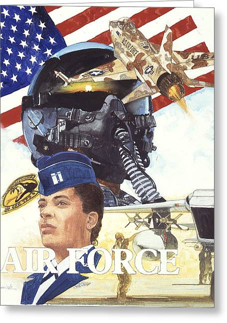 Airforce Paintings Greeting Cards - US Airforce Greeting Card by Chuck Hamrick