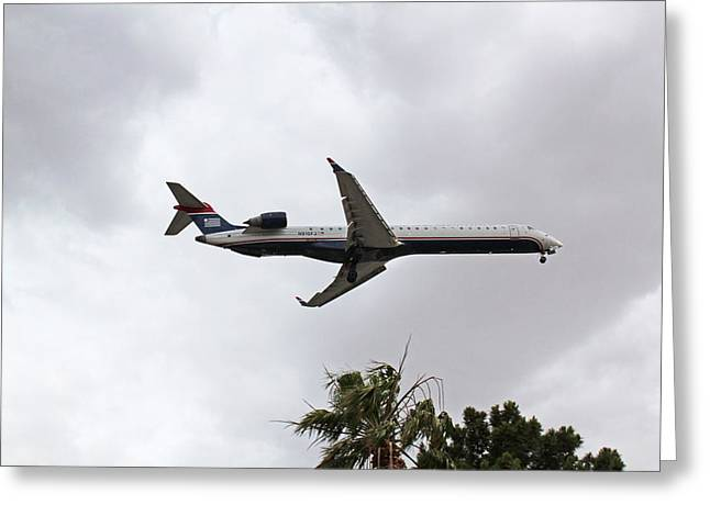 Artandstuffbycarl.com Greeting Cards - Us Airways Express On Final Approach Into Las Vegas Nv Greeting Card by Carl Deaville