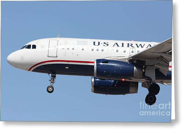 Landing Airplane Greeting Cards - US Airways Jet Airplane  - 5D18394 Greeting Card by Wingsdomain Art and Photography