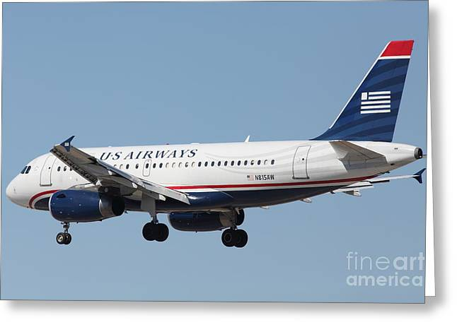 Landing Airplane Greeting Cards - US Airways Jet Airplane  - 5D18396 Greeting Card by Wingsdomain Art and Photography