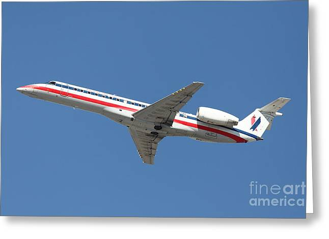 Airplane Landing Greeting Cards - US Airways Jet Airplane  - 5D18405 Greeting Card by Wingsdomain Art and Photography