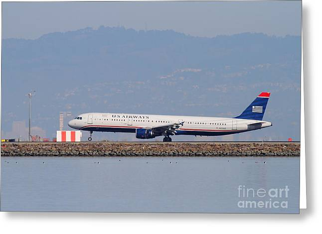 Airplane Landing Greeting Cards - US Airways Jet Airplane At San Francisco International Airport SFO . 7D11982 Greeting Card by Wingsdomain Art and Photography