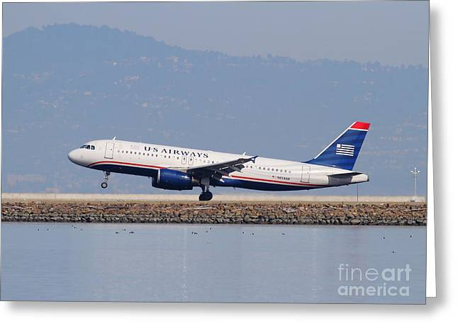 Airplane Landing Greeting Cards - US Airways Jet Airplane At San Francisco International Airport SFO . 7D12018 Greeting Card by Wingsdomain Art and Photography
