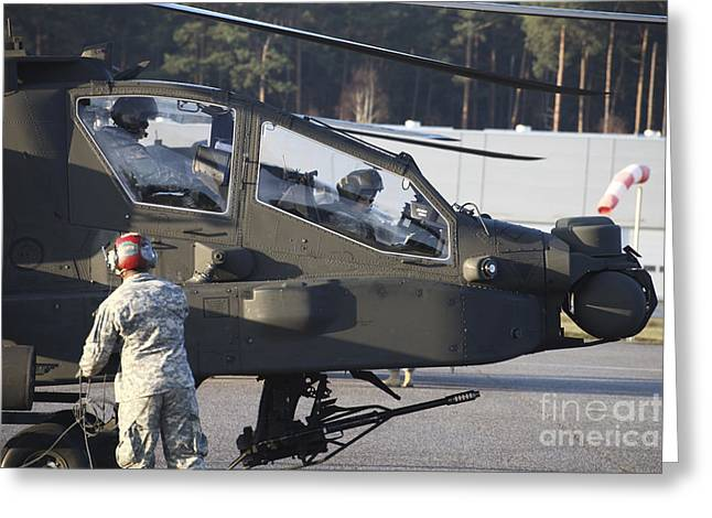 Center Part Greeting Cards - U.s. Army Ah-64d Apache Helicopter Greeting Card by Timm Ziegenthaler