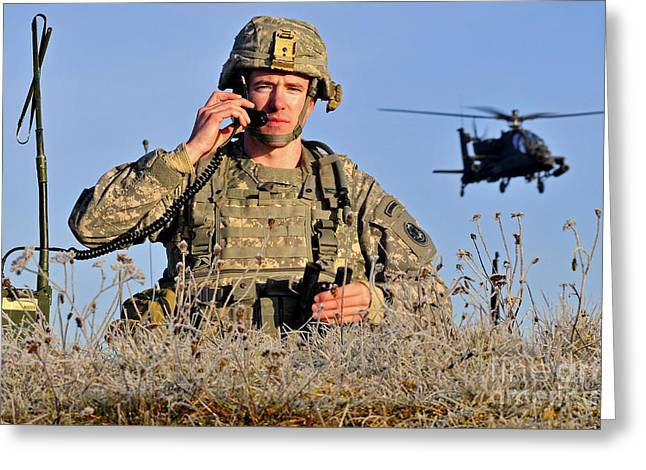 On The Phone Greeting Cards - U.s. Army Captain Directs An Ah-64 Greeting Card by Stocktrek Images