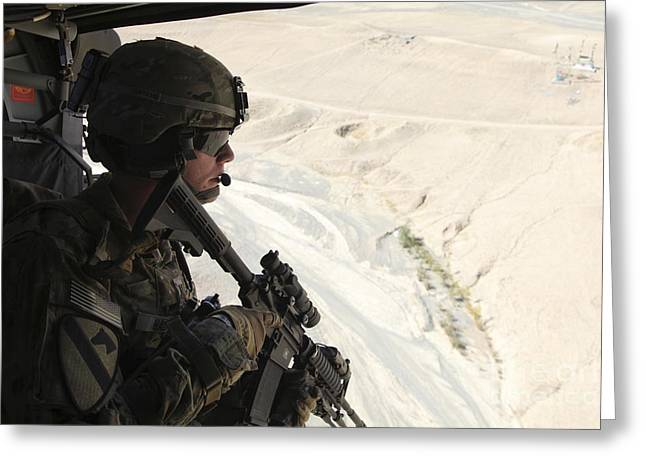 Logar Greeting Cards - U.s. Army Captain Looks Out The Door Greeting Card by Stocktrek Images