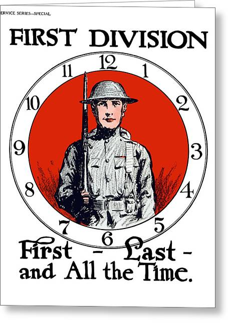 Wwi Greeting Cards - US Army First Division Greeting Card by War Is Hell Store