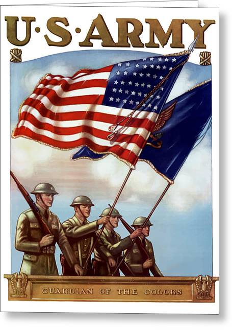 Flags Greeting Cards - US Army Guardian Of The Colors Greeting Card by War Is Hell Store