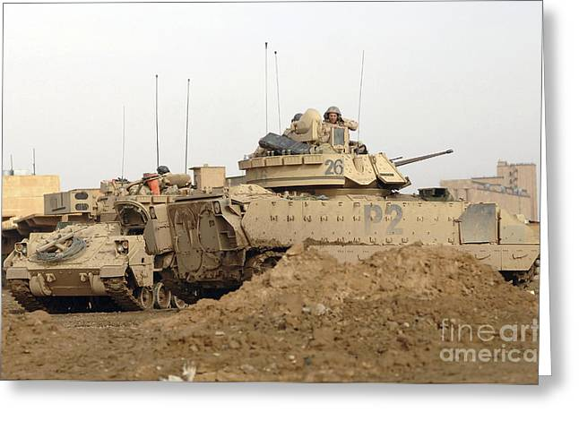 Us Army Tank Greeting Cards - U.s. Army M2 Bradley Infantry Fighting Greeting Card by Stocktrek Images