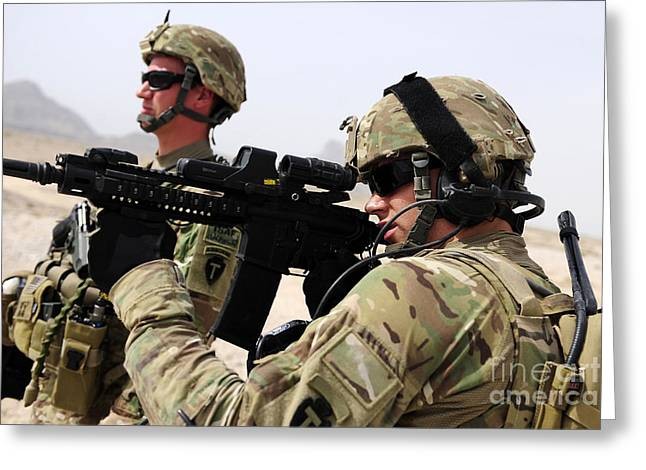 Holding Gun Greeting Cards - U.s. Army National Guards Pull Security Greeting Card by Stocktrek Images
