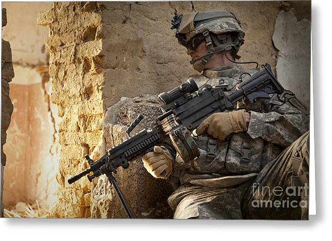 Courage Greeting Cards - U.s. Army Ranger In Afghanistan Combat Greeting Card by Tom Weber