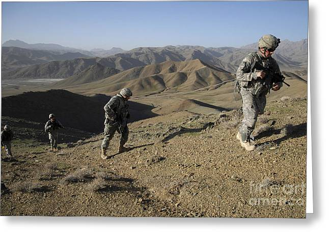Zabul Greeting Cards - U.s. Army Sergeant Leading His Team Greeting Card by Stocktrek Images