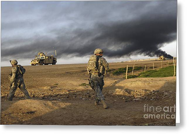 Hmmwv Greeting Cards - U.s. Army Sergeants Walk To The Rally Greeting Card by Stocktrek Images