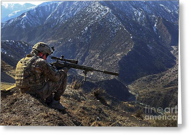 Scrutiny Greeting Cards - U.s. Army Sniper Provides Security Greeting Card by Stocktrek Images