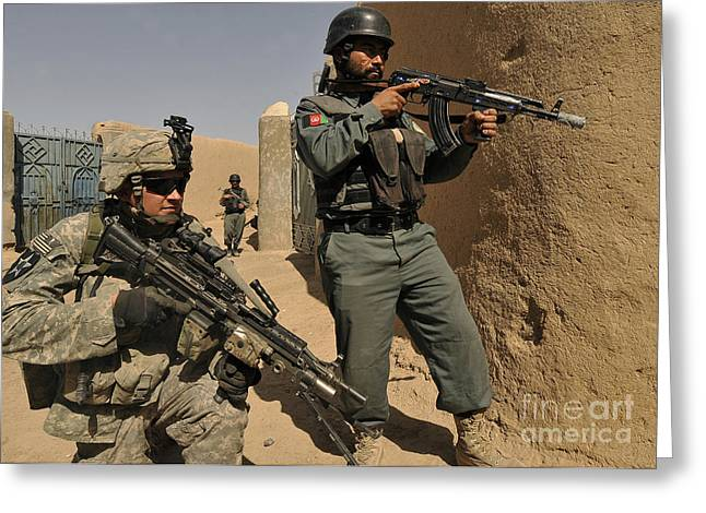 Afghanistan National Police Greeting Cards - U.s. Army Soldier And An Afghan Greeting Card by Stocktrek Images