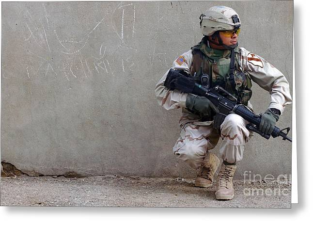 Baghdad Greeting Cards - U.s. Army Soldier Armed With A 5.56mm Greeting Card by Stocktrek Images