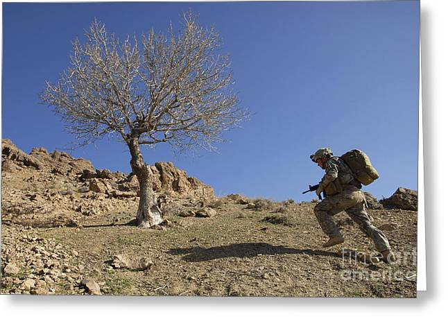 Zabul Greeting Cards - U.s. Army Soldier Climbing A Mountain Greeting Card by Stocktrek Images