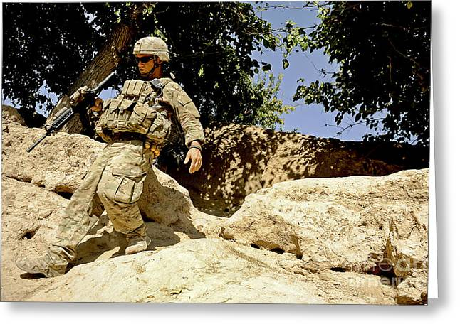 Zabul Greeting Cards - U.s. Army Soldier Climbs Down A Hill Greeting Card by Stocktrek Images