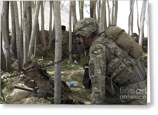 Field Telephone Greeting Cards - U.s. Army Soldier Communicates Possible Greeting Card by Stocktrek Images