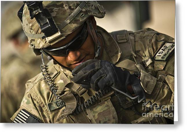 U.s. Army Soldier Communicates Greeting Card by Stocktrek Images