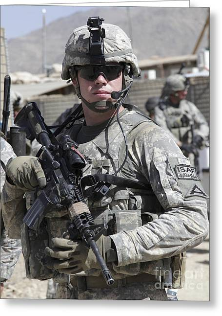 Zabul Greeting Cards - U.s. Army Soldier Conducts A Combat Greeting Card by Stocktrek Images