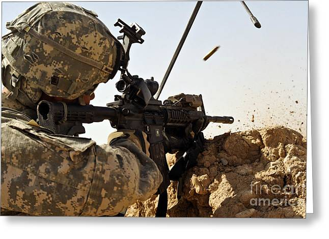 Shoulder-fired Greeting Cards - U.s. Army Soldier Engages Enemy Forces Greeting Card by Stocktrek Images