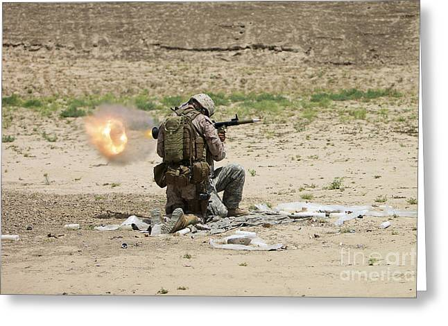 Shoulder-launched Greeting Cards - U.s. Army Soldier Fires Greeting Card by Terry Moore