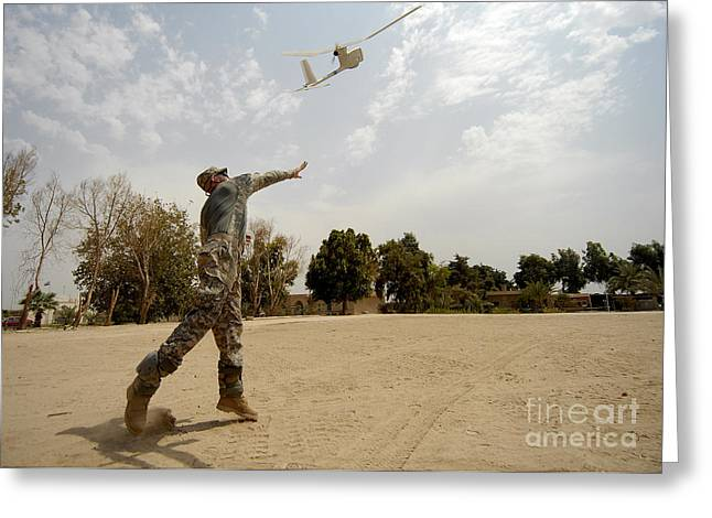 Baghdad Greeting Cards - U.s. Army Soldier Launches An Rq-11b Greeting Card by Stocktrek Images