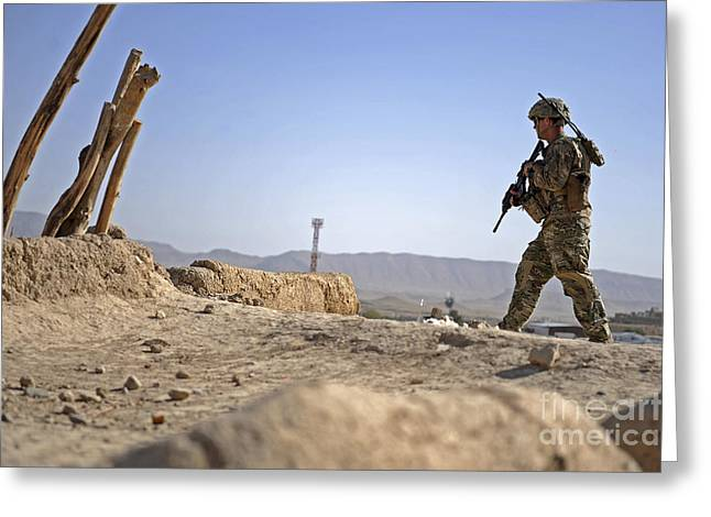 Zabul Greeting Cards - U.s. Army Soldier On A Foot Patrol Greeting Card by Stocktrek Images
